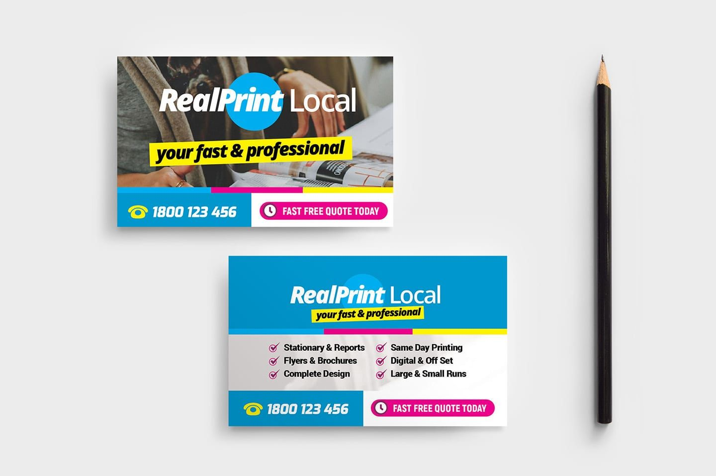 Print Shop Business Card Template - PSD, Ai & Vector - BrandPacks With Template For Cards To Print Free