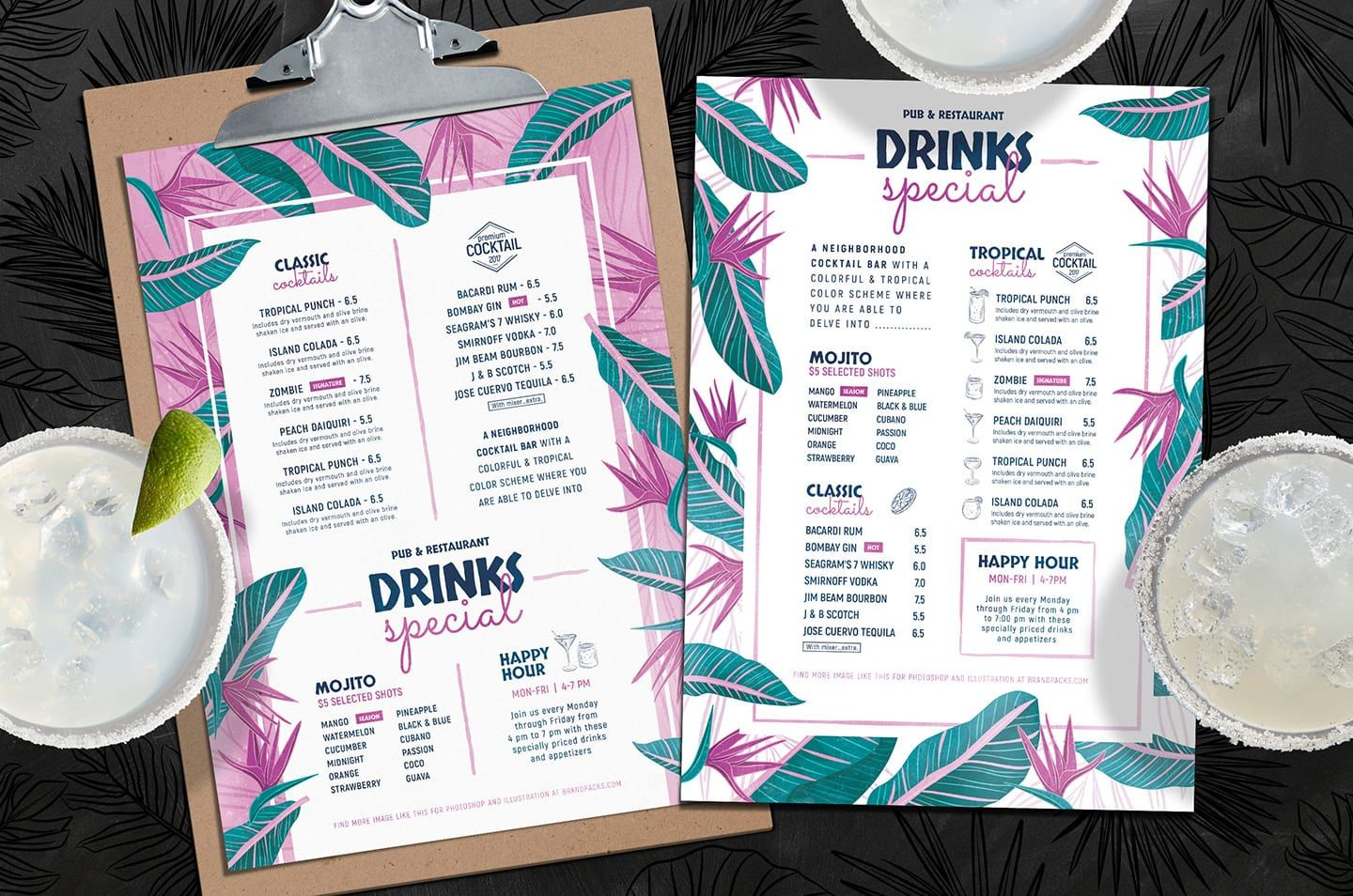Tropical Cocktail Menu & Flyer Templates - PSD, Ai, Vector For Cocktail Menu Template Word Free